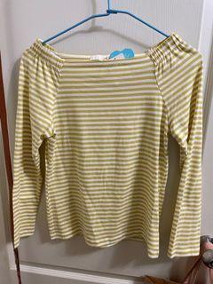 🌟全新🌟earth黃白條紋長袖上衣