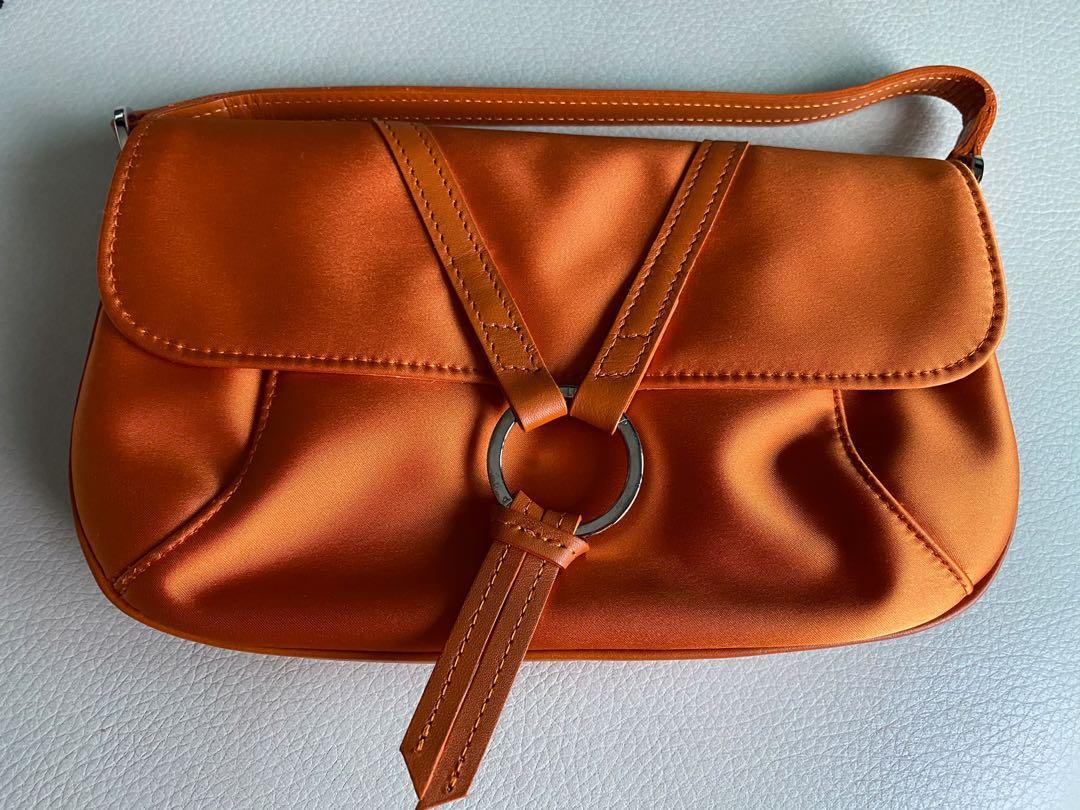 Longchamp Satin and Leather Pochette/ Mini Bag, Women's Fashion ...