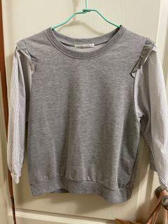 日本購入retro girl拼接七分袖上衣