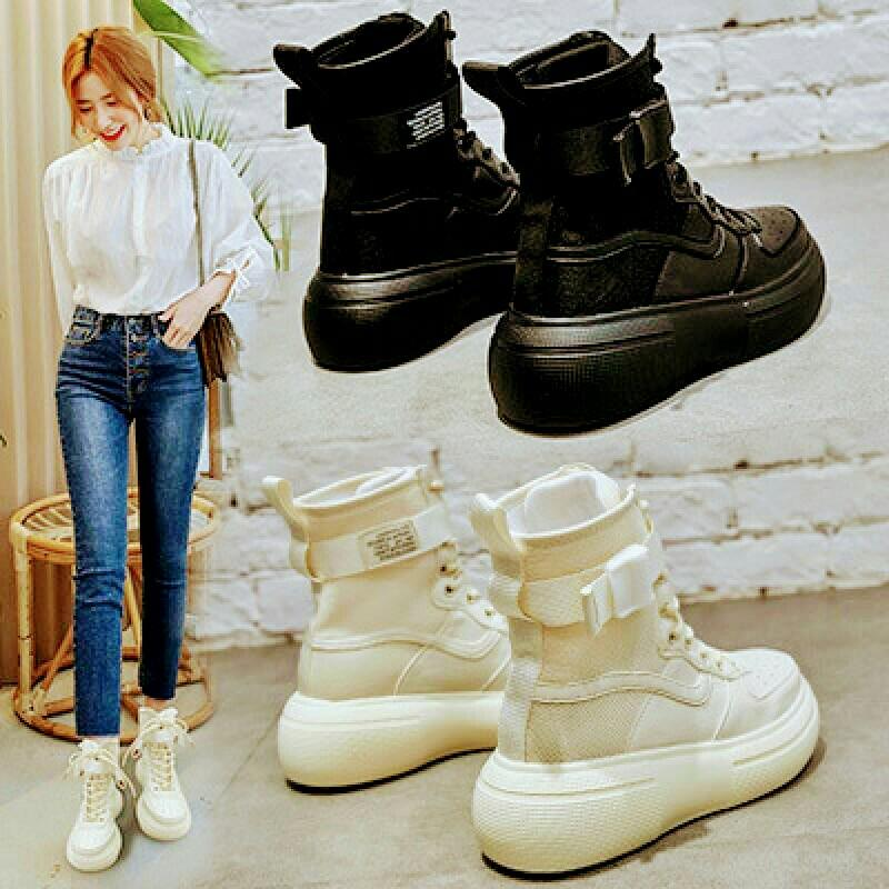 SWYIVY Woman Winter Boots 2019 Populboost ar 6 Cm High Top Shoes Platform Sneakers Black Genuine Leather Ankle Boots For Woman Boot