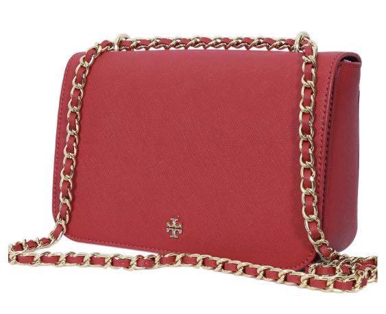 Tory Burch Emerson Adjustable Shoulder Bag in Kir Royale Red
