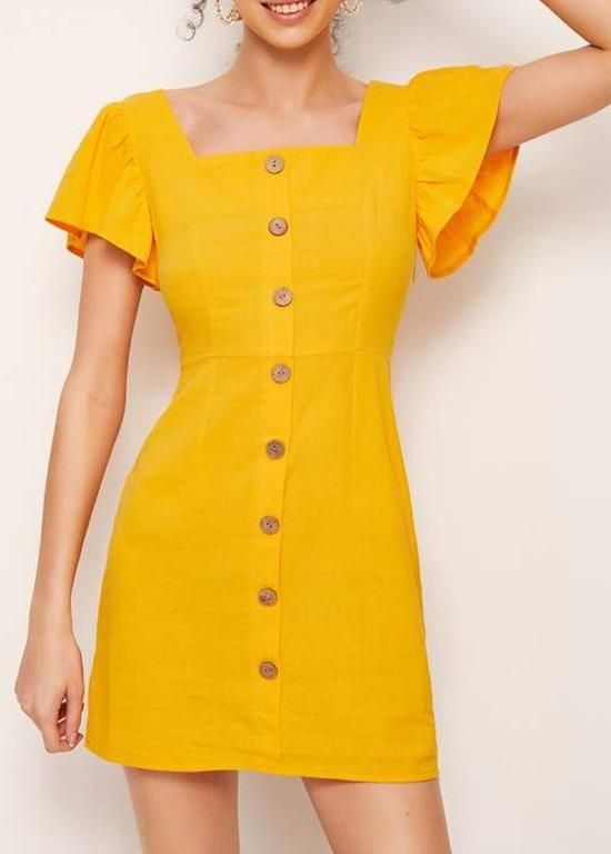 Yellow Off the Shoulder Button Dress