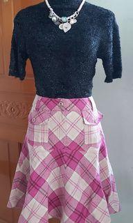 正韓粉色毛料格子裙