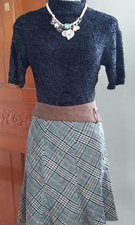 薄毛料格子魚尾裙