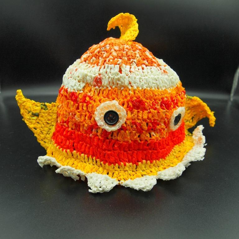 環保文創手作樣品 鯨魚帽 100%塑膠袋材料 100%手工鉤織 萬聖節兒童化裝舞會迪士尼風格