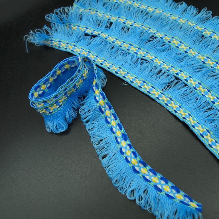 個人二手 棉蕾絲花邊   天藍色3.5公分寬 共220公分長 (60 公分+40公分x 4條)