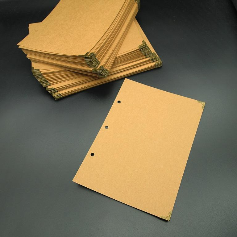 A5尺寸直式牛皮紙記事本(封皮+封底)20套, 金屬包角