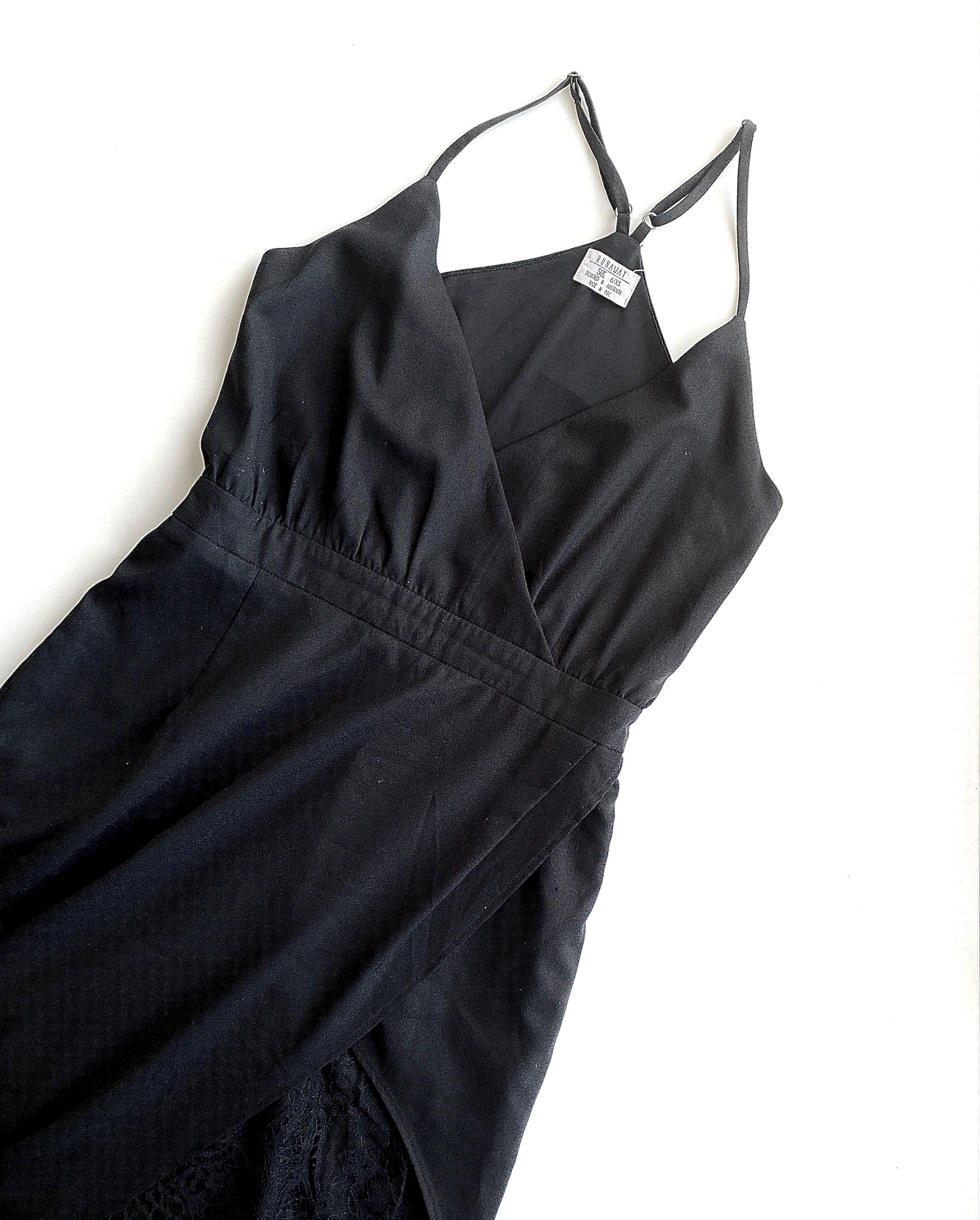 Black laced evening dress size 6-8 XS