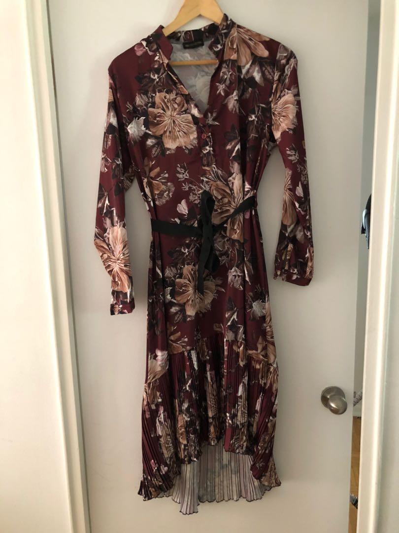 Long flowered print dress, size S/M