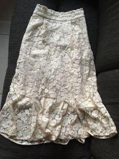 majestic legon 米杏色碎花蕾絲魚尾長裙 日本網站購入 僅家中試穿