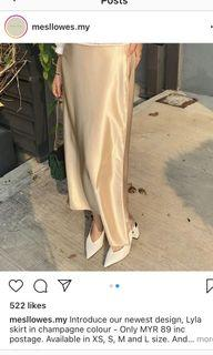[NWT] Satin Skirt in Champagne (Size S)