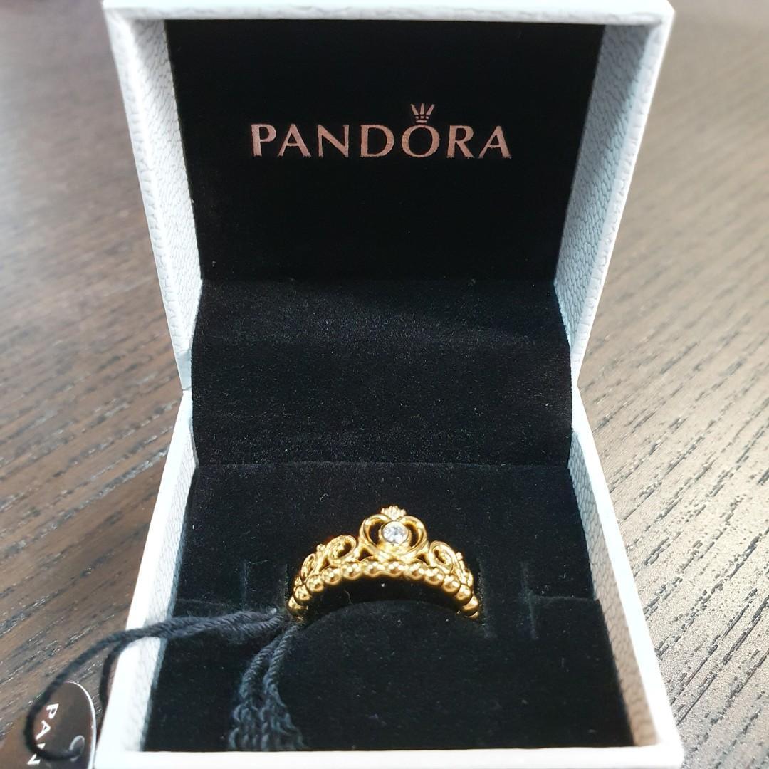 Pandora Shine 18K Over Silver Tiara Crown Ring (size 52), Women's ...