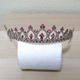 Pretty Rhinestones Pink Silver Tiara