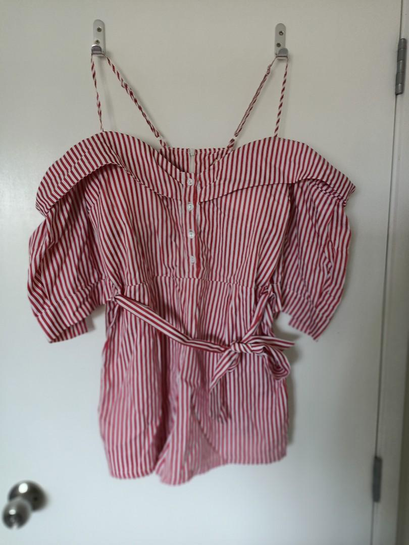 Red and white Stripe playsuit