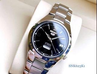 Seiko 5 Automatic SNK623 Analog Steel Watch SNK623K1 Black Dial Brand New
