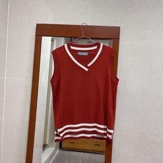 紅色毛衣背心