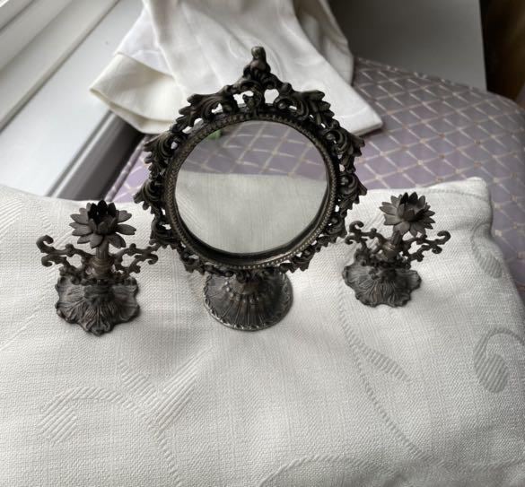 Beautiful mirror and candle holder set