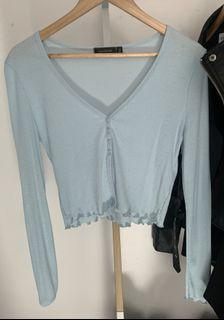 Glassons Long Sleeve Crop - Baby Blue