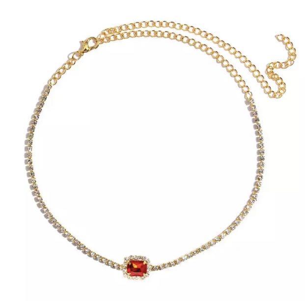 red diamond fashion necklace