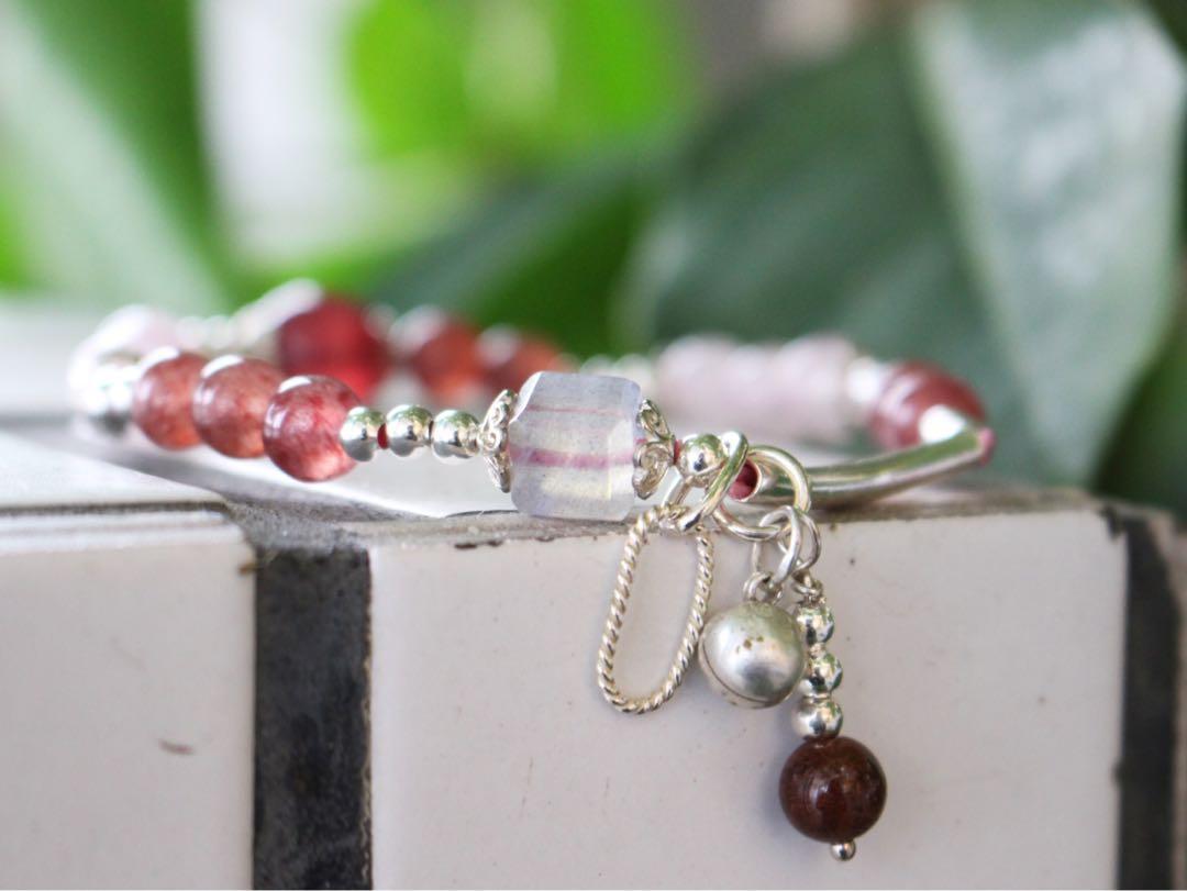 🍎蘋果草莓🍓#草莓晶#粉晶#拉長石