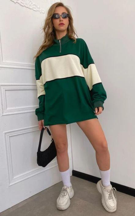 Contrast Panel Drop Shoulder Oversized Sweatshirt