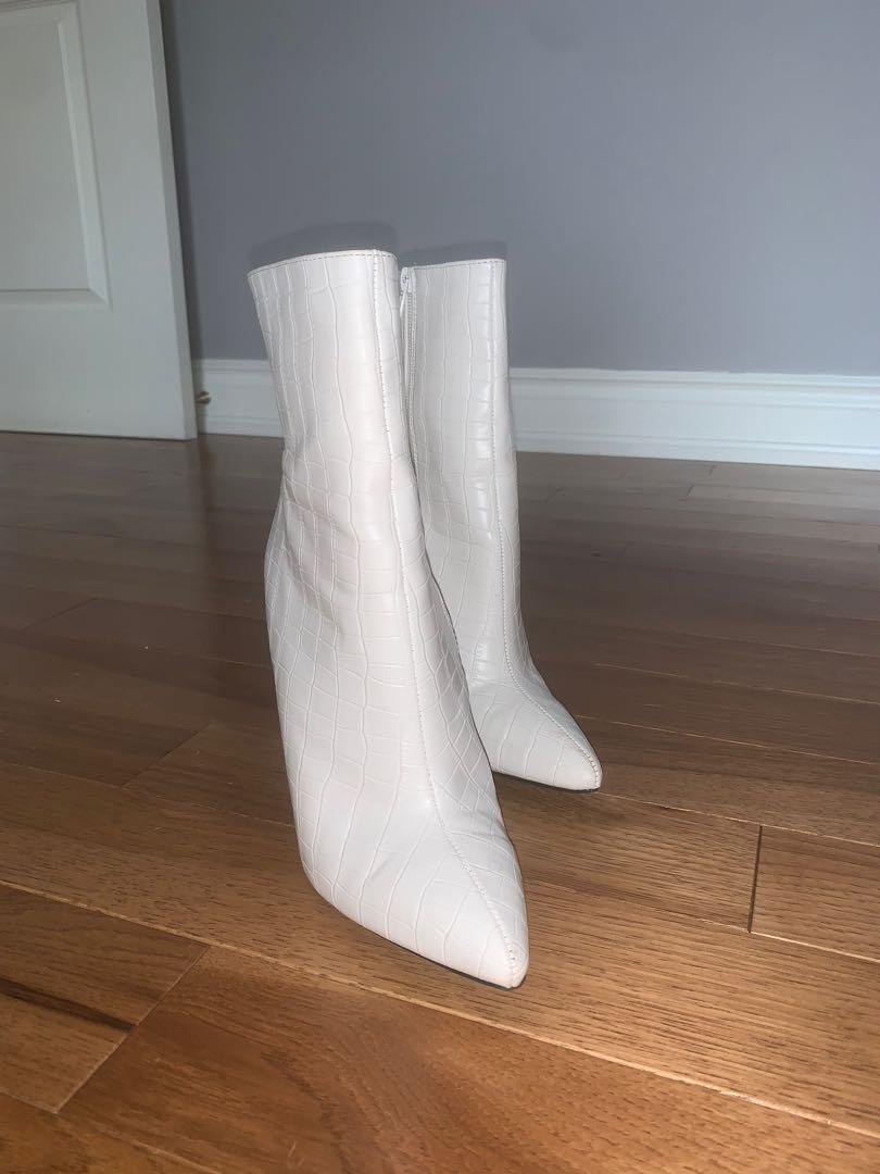 Fashion nova white stiletto booties