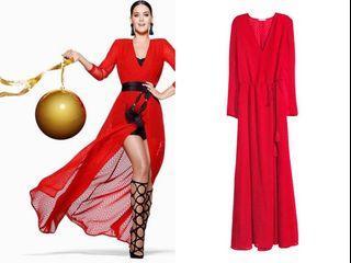 H&M chiffon red dress size2