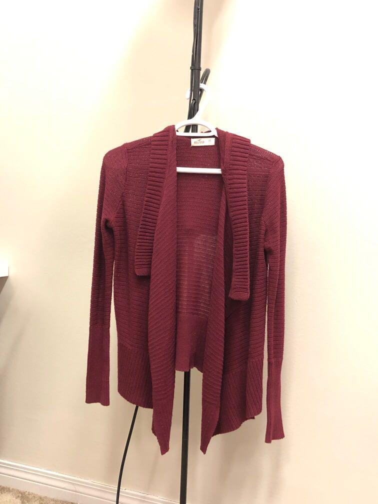 Hollister Red Hooded Cardigan