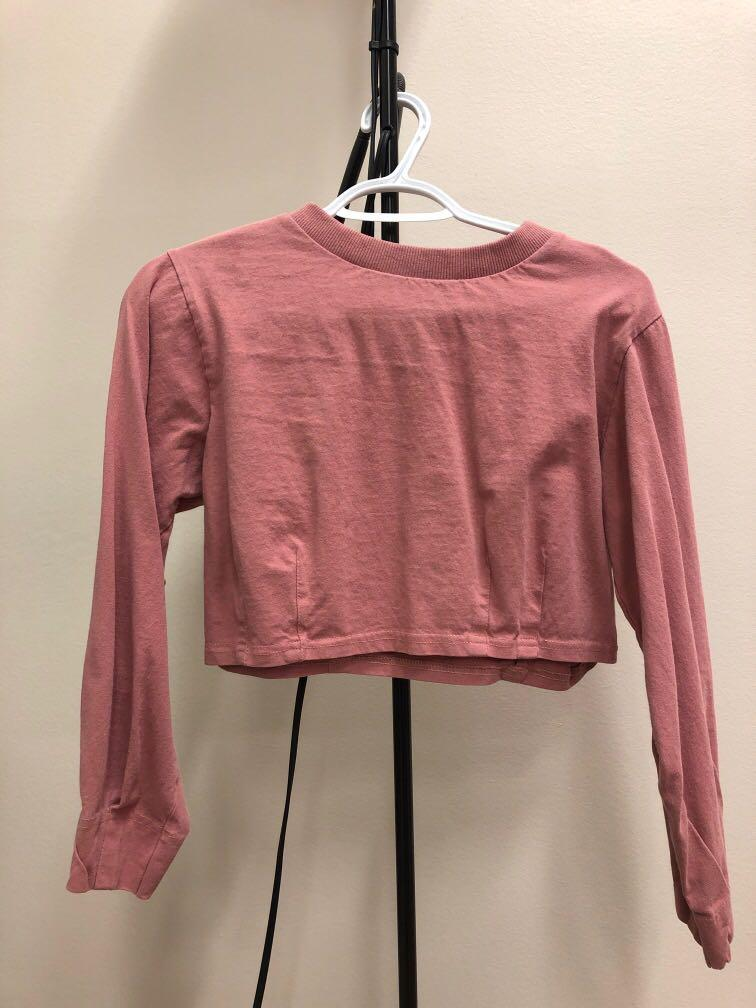 L.S Corporation Old Rose Long Sleeve Cropped Top