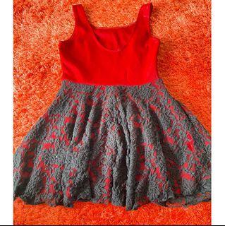 Red christmas flowy dress lace black- dress merah renda hitam