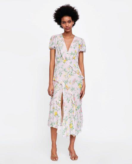 Zara midi dress chiffon floral ruffles