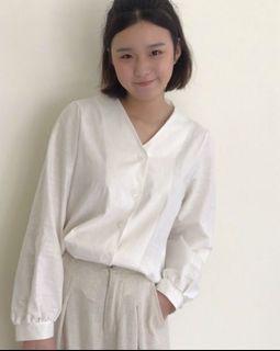 正韓🇰🇷花店小姐姐微澎袖小襯衫