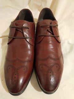 (全新)酒紅色真皮皮鞋