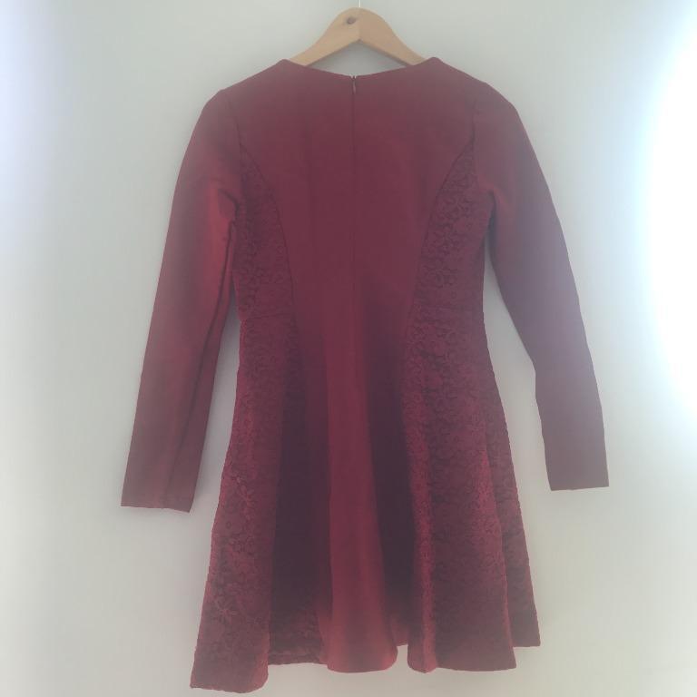 BNWT MesAppas Red Long-Sleeve Skater Dress