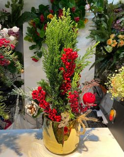 98 Now Chinese New Year Cny Artificial Flower Arrangement In Gold Pot Gardening Flowers Bouquets On Carousell