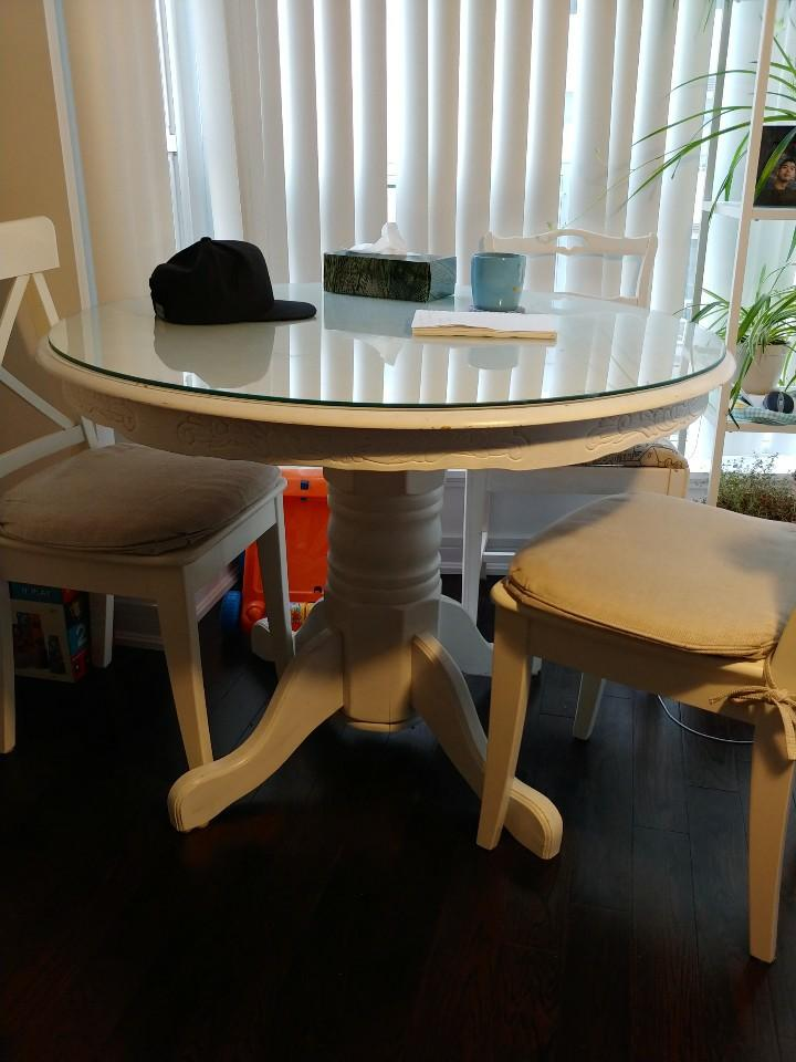 Rustic Dining table with glass top