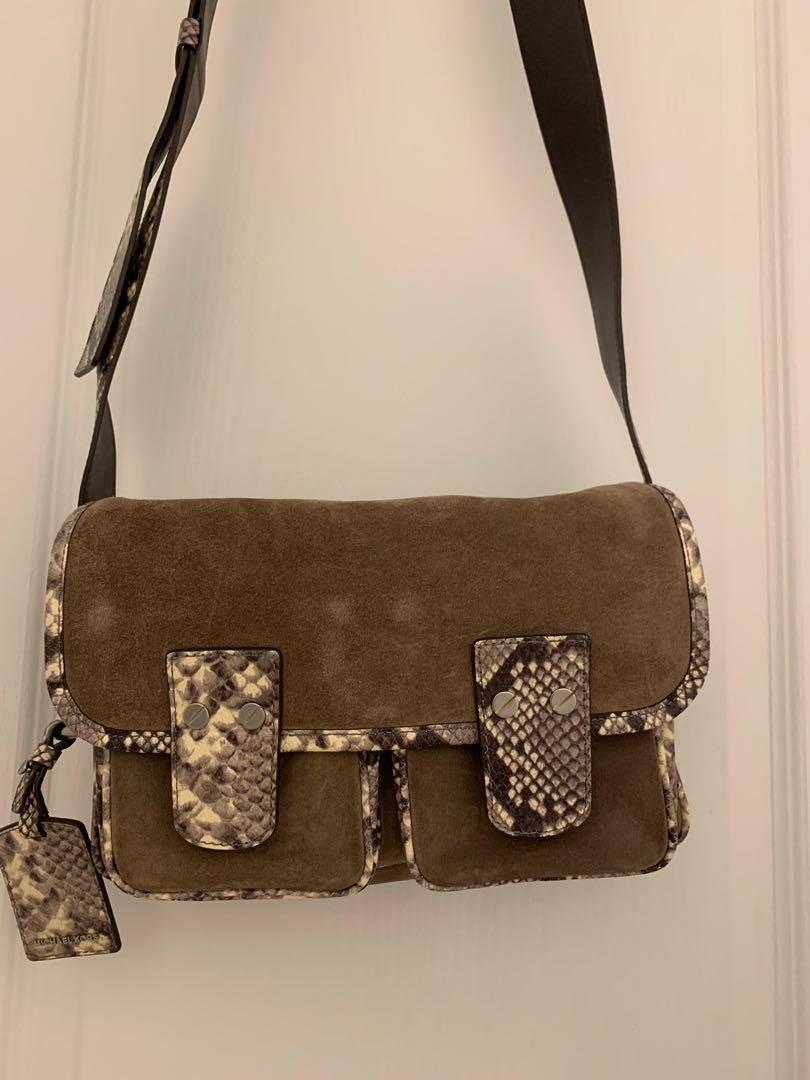 Brand new Michael Kors suede crossbody bag with snake-embossed leather