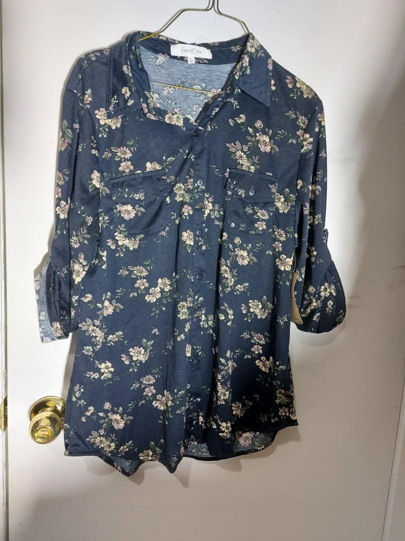Floral button up blouse - L