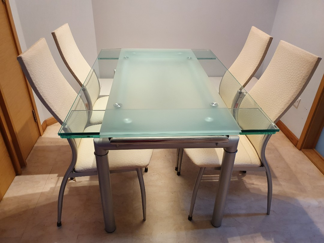 Glass Extendable Dining Table W 4 Chairs Furniture Tables Chairs On Carousell