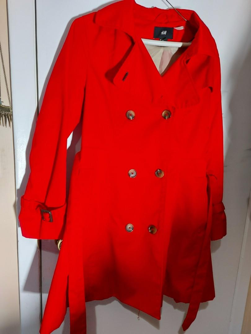 H&M Red Trenchcoat-size 10