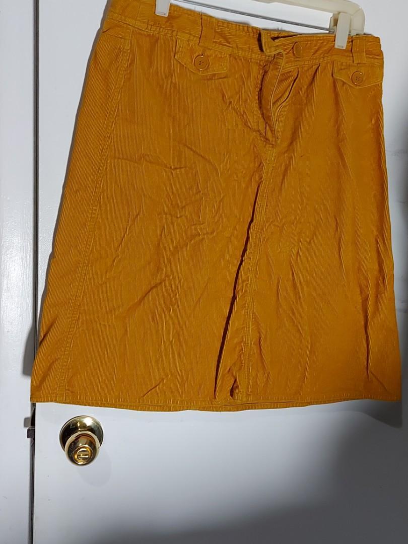 H&M-Yellow corduroy skirt- size12