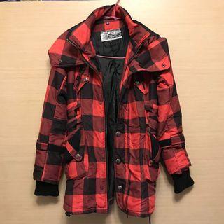 紅黑格紋長版外套-S碼