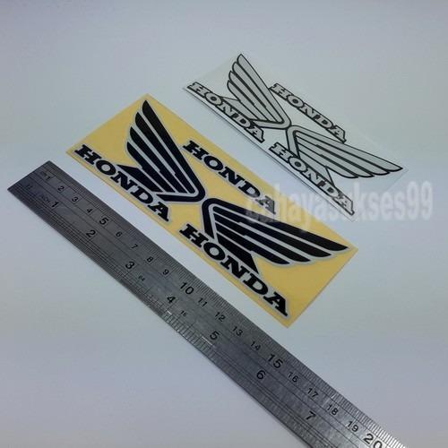 Stiker Motor Sayap Honda Hitam List Putih Medium Size 14cm x 5.5cm Sticker Cutting Body Motor Reflective BONUS Size Kecil Putih List Hitam Paket 2 Set