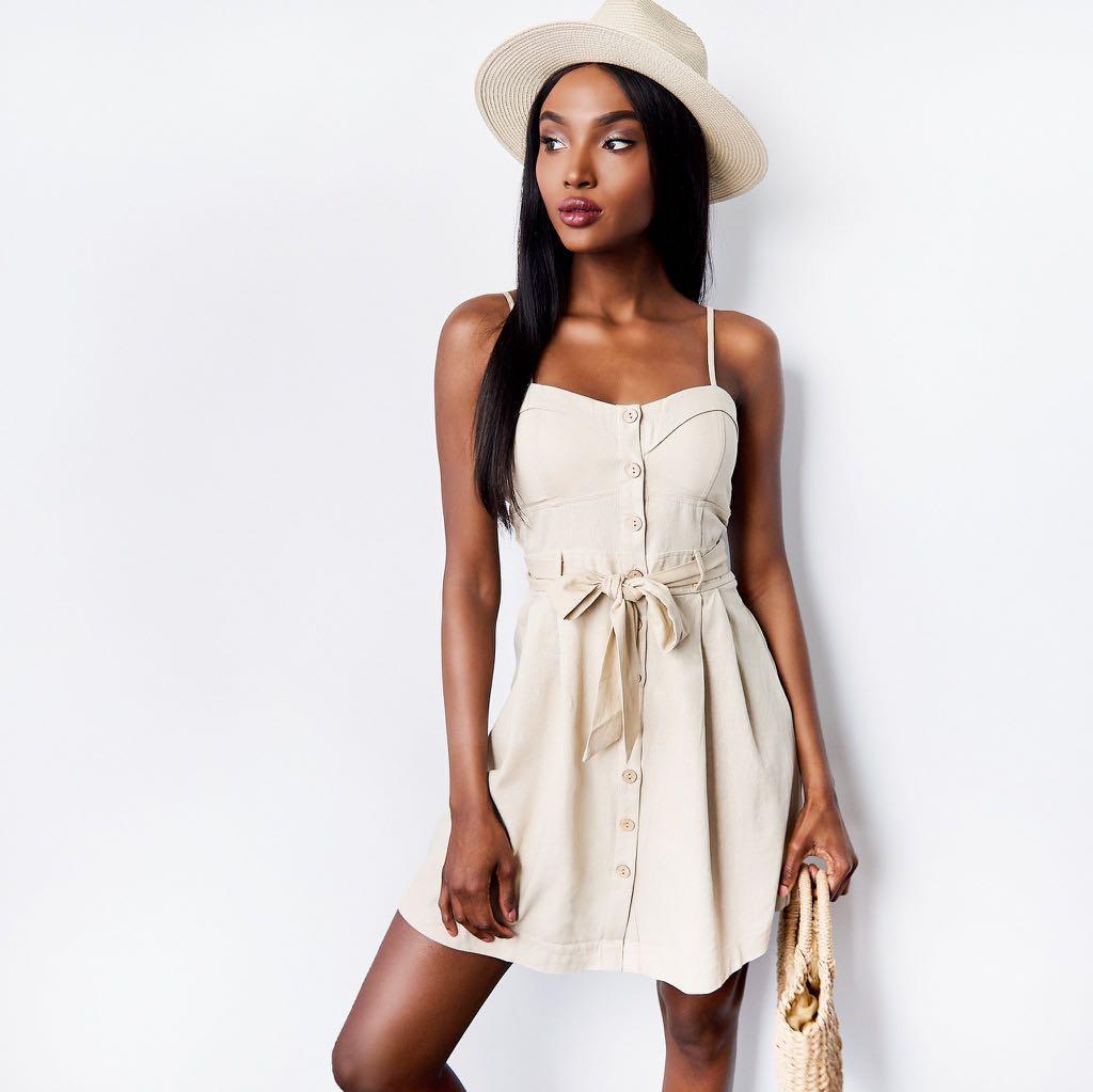 Urban Planet Button-Up Sweetheart Self Tie Mini Dress
