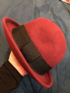 100%wool 酒紅色圓帽/造型帽