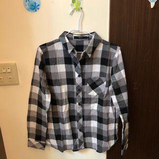 原價1500 日牌 黑白格紋襯衫(微毛呢)