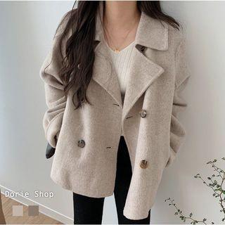 韓妞氣質翻領排釦毛呢大衣外套(A2416)