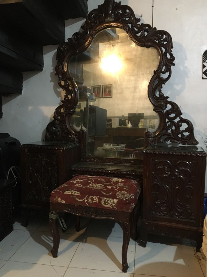 Antique Vanity Mirror Solid Narra Antiques Antique Furniture On Carousell