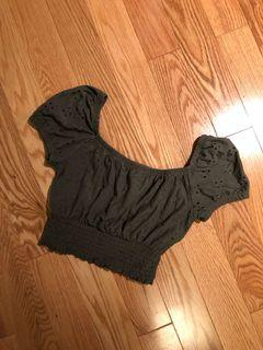 Army Green Eyelet Crop Top (Size XS)