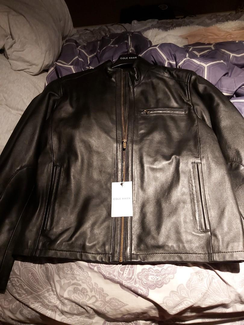 Cole hann black leather jacket